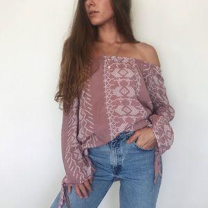 Off-the-shoulder boho blouse